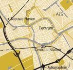 Kaart paddepoel tov centrum Groningen